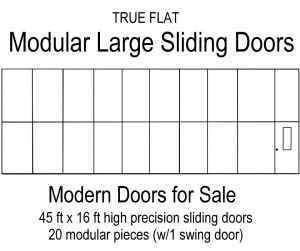 Modular large sliding doors 20 modular pieces 45 ft x 16 ft large slding door