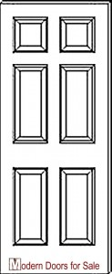 Modern 6 panel true raised panel door drawing